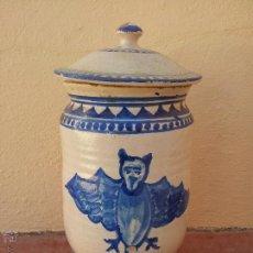 Antigüedades: ANTIGUO BOTE CE CERAMICA DE FARMACIA, PINTADO A MANO, 30 X 14 DIAMETRO.. Lote 46337327