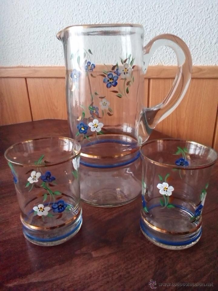 1900 C Jarra Cristal Soplado De Agua Con Dos Vasos Decorados Motivos Florales Jarro