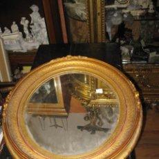 Antigüedades: ESPEJO IMPORTANTE MARCO DORADO ANTIGUO MADERA OVALADO - MEDIDA 55 X 47 CM.. Lote 46352853
