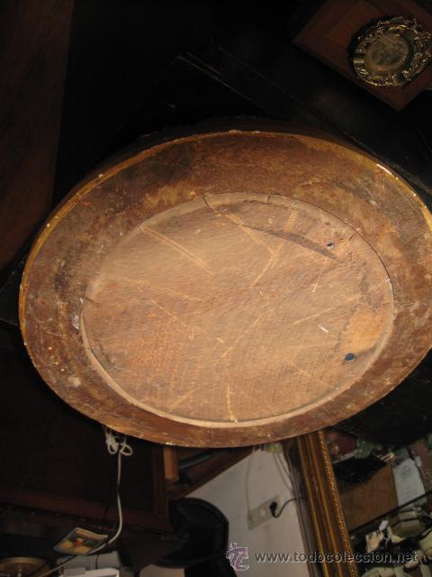 Espejo importante marco dorado antiguo madera o comprar for Espejo ovalado madera