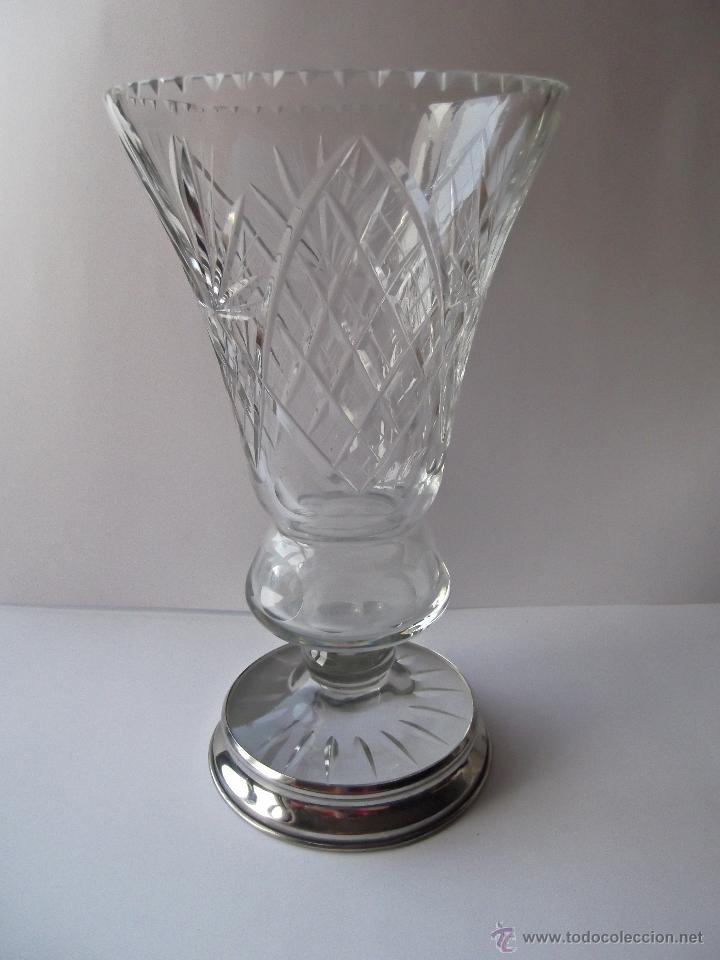 Jarron florero de cristal tallado y base de pla comprar for Jarron cristal