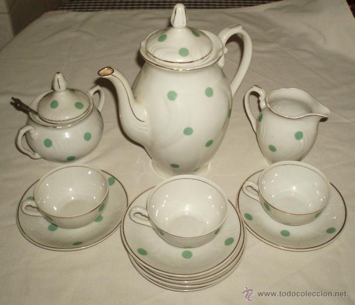 JUEGO DE CAFE SANTA CLARA DE LOS AÑOS 40 (Antigüedades - Porcelanas y Cerámicas - Santa Clara)