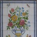 Antigüedades: AZULEJOS JARRÓN CON FLORES Y GALLOS Nº25. Lote 46355851