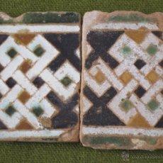 Antigüedades: LOTE DE DOS AZULEJOS DE TOLEDO. ARISTA. SIGLO XV-XVI - LACERIA ARABE/MUDEJAR. AZULEJO.. Lote 46358631