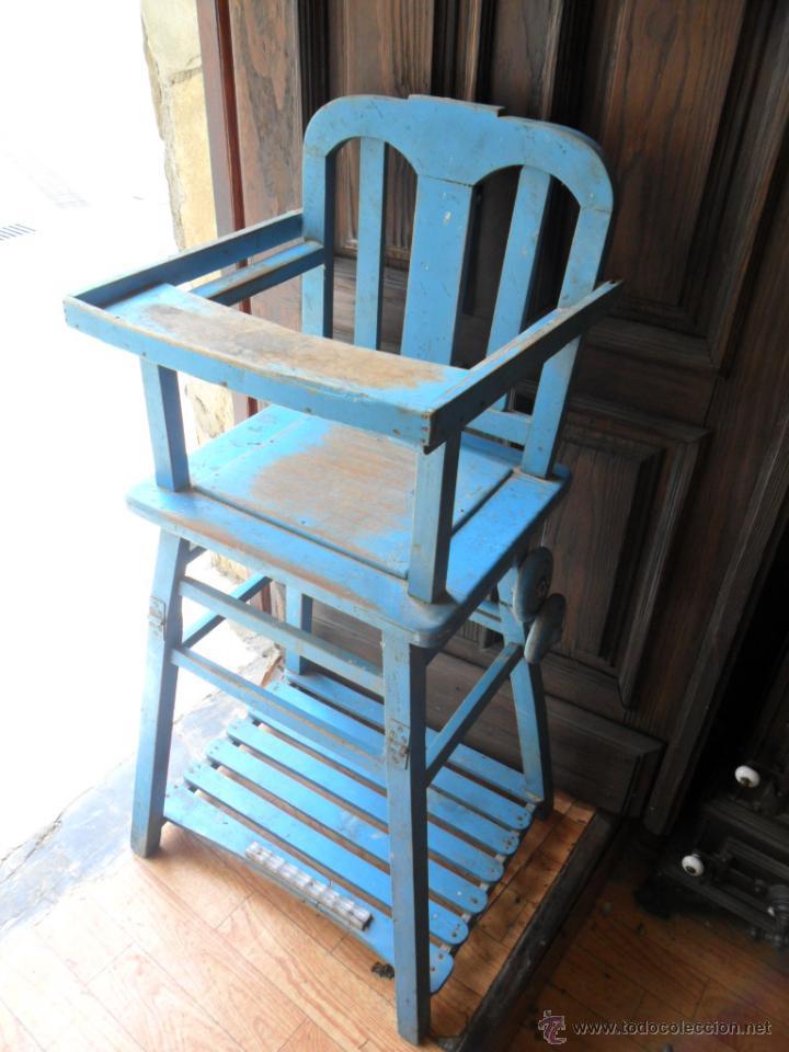 silla - trona para bebé de madera lacada en azu - Comprar Sillas ...