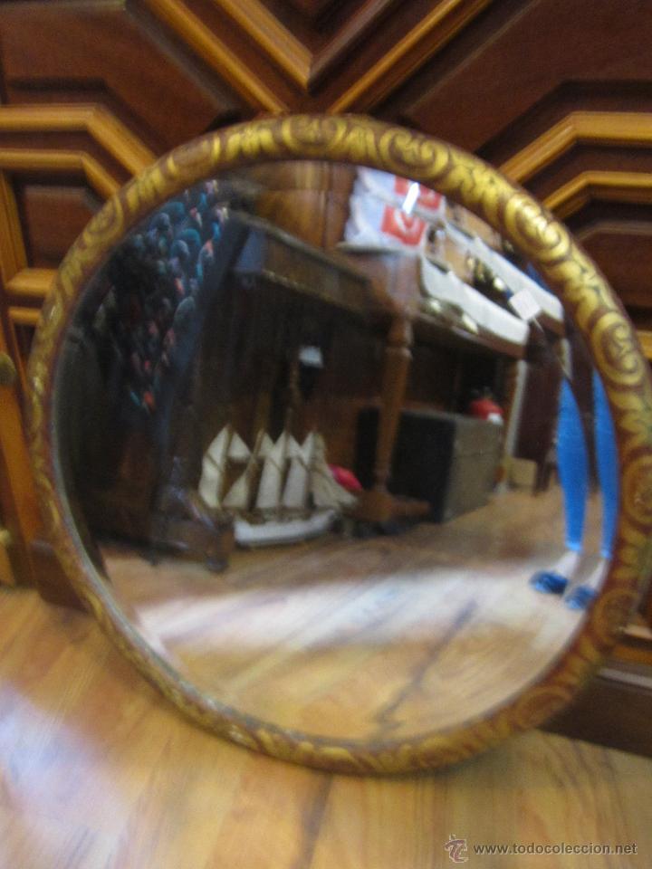 Espejo redondo con cristal biselado marco de m comprar for Espejos redondos con marco de madera