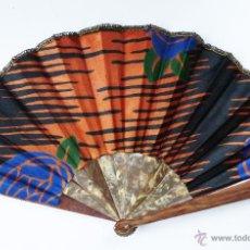 Antigüedades: ABANICO ART DECO EN SEDA Y CELULOIDE. Lote 46380007