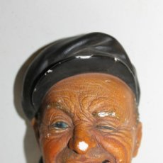 Antigüedades: CABEZA EN ESTUCO POLICROMADO - BOSSONS ENGLAND - BOAT MAN - 1967. Lote 46386742