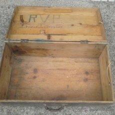 Antigüedades: MALETA DE MADERA 50 CM. X35 CM. DECORACION RUSTICA. Lote 46393122