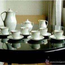 Antigüedades: ELEGANTE JUEGO DE CAFÉ DE PORCELANA SANTA CLARA, ESTADO IMPECABLE, CON MARCAS. Lote 46401856