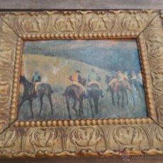 Antigüedades: CUADRO MARCO MADERA DORADO COLOR ORO CON LAMINA TEMA CARRERA DE CABALLOS. Lote 46413041