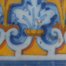 Antigüedades: AZULEJO RACHOLA TALAVERA DECORADO CON HOJAS Y ROLEOS S,M.S. XVI. Lote 46415127