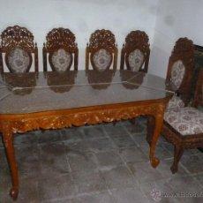 Antigüedades: MESA Y 6 SILLAS DE BALI. TALLADAS COMPLETAMENTE. Lote 46422669