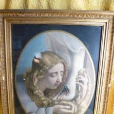Antigüedades: GRAN LITOGRAFIA RELIGIOSA ENMARCADA , BESA PIES. Lote 46446249