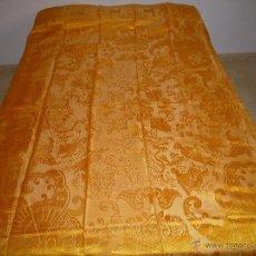 Antigüedades: ANTIGUA COLCHA DE DAMASCO CHINESCA AMARILLA. Lote 46474543