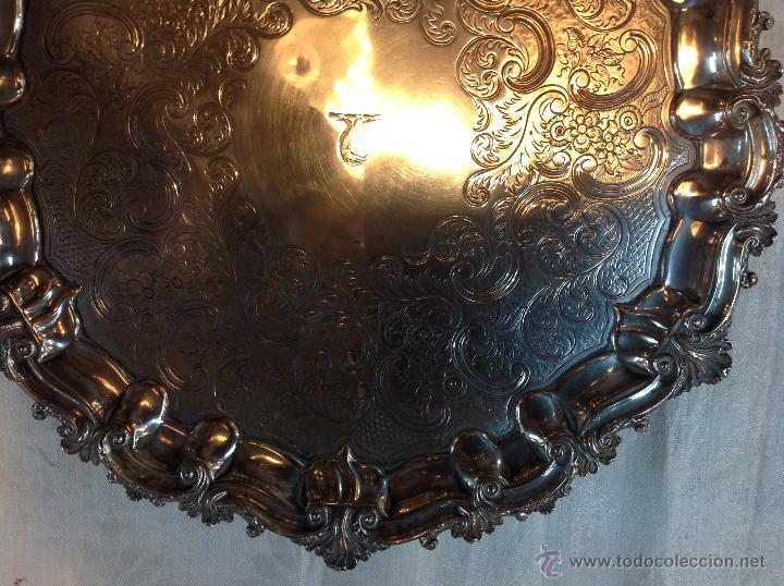 Antigüedades: bandeja salvilla plateada - Foto 2 - 46484273
