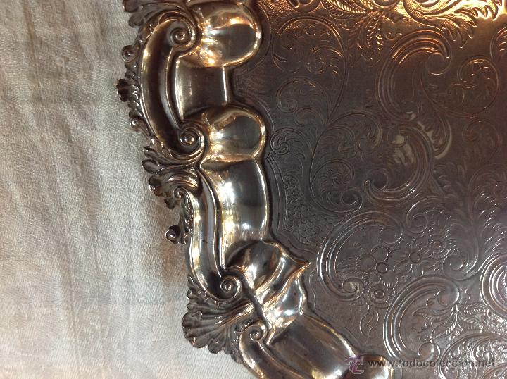 Antigüedades: bandeja salvilla plateada - Foto 3 - 46484273
