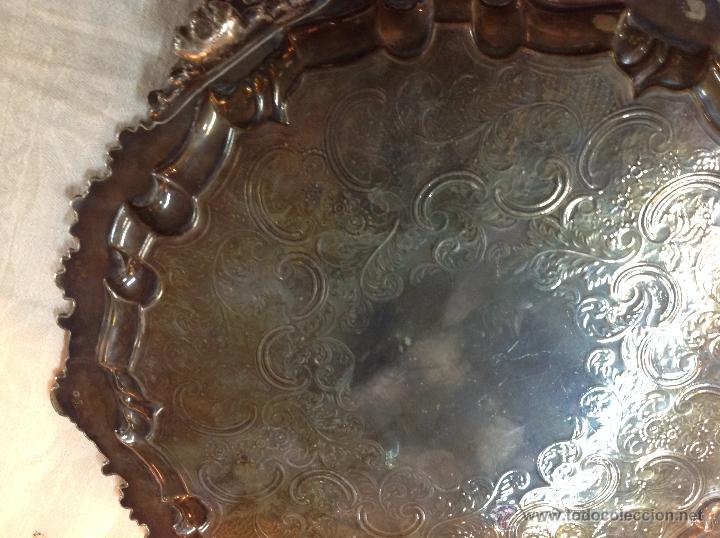 Antigüedades: bandeja salvilla plateada - Foto 9 - 46484273