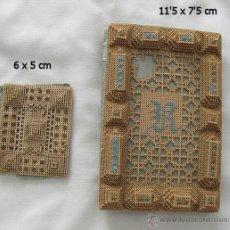 Antigüedades: TARJETERO BORDADO SOBRE PAPEL Y OTRO BORDADO MUY ANTIGUOS. Lote 46486015