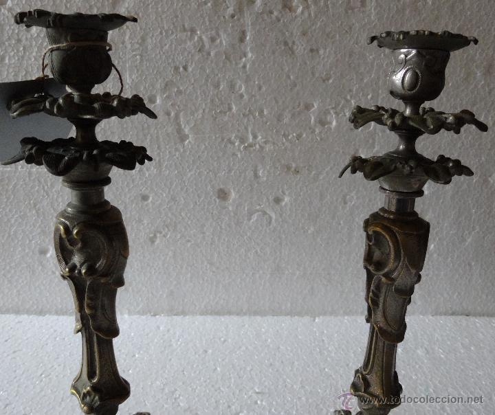 Antigüedades: PAREJA DE CANDELABROS ESTILO ROCOCÓ - 389 - Foto 6 - 43000093