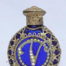 Antigüedades: ANTIGUO PERFUMERO CRISTAL BOHEMIA EN FILIGRANA DORADA V . Lote 46515441