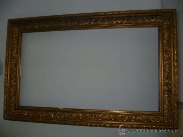 Enorme marco antiguo de madera dorado en pan de comprar for Espejo marco dorado
