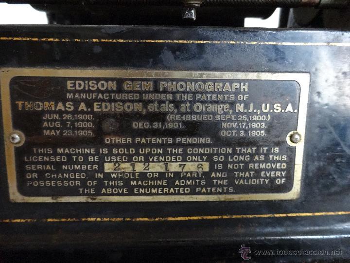 Antigüedades: FONÓGRAFO EDISON MODELO GEM - XXX 140 - Foto 6 - 42978820