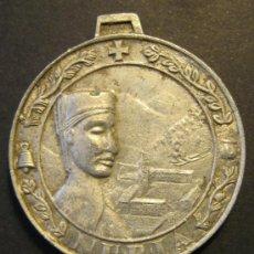 Antigüedades: MEDALLA DE LA VIRGEN DE NURIA Y SAN BERNARDO. ESQUI ALPINO. ZINC? DIAMETRO 3,2 CM. Lote 46528672
