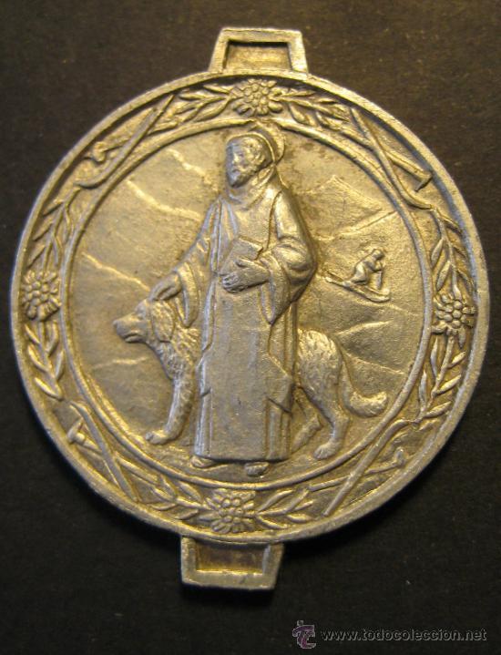 Antigüedades: MEDALLA DE LA VIRGEN DE NURIA Y SAN BERNARDO. ESQUI ALPINO. ZINC? DIAMETRO 3,2 CM - Foto 2 - 46528672