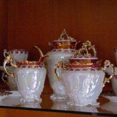 Antigüedades: JUEGO CAFE PORCELANA NACARADA. Lote 46529406
