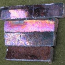 Antigüedades: AZULEJOS. LOTE 4 TIRAS ANTIGUAS EN CERAMICA DE REFLEJOS COBRIZOS. SEVILLA /TRIANA.AZULEJO.. Lote 46532435