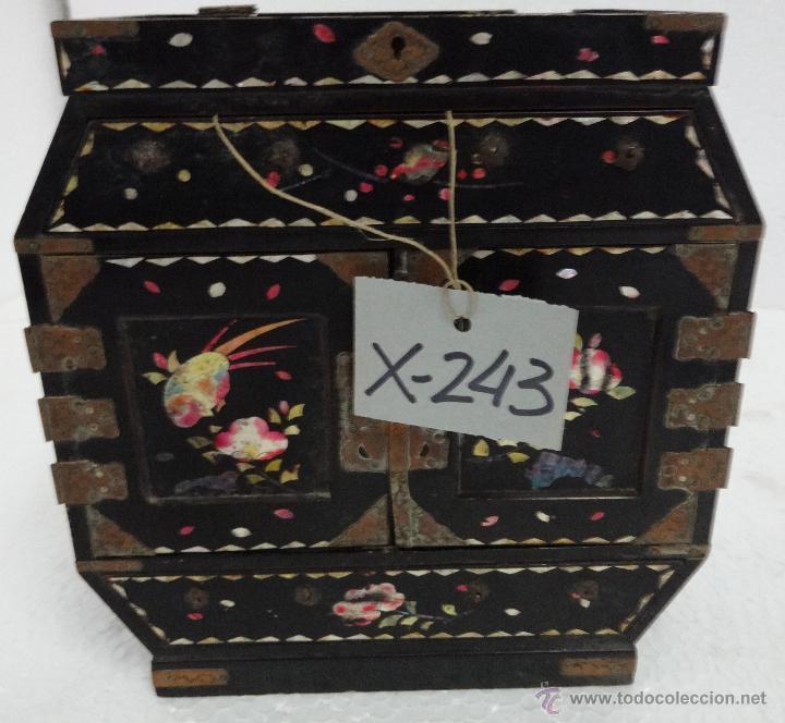 Antigüedades: CAJA JOYERO CON COMPARTIMENTOS TÉCNICA DEL LACADO - 243 - Foto 5 - 43018338
