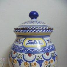 Antigüedades: ANTIGUO TARRO CERAMICA PARA SAL. PINTADO A MANO. FIRMADO - PUENTE. Lote 46539673