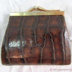 Antigüedades: MONEDERO DE PIEL DE COCODRILO. Lote 46543162