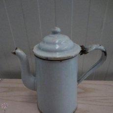 Antigüedades - antigua cafetera jarra tetera de hierro esmalte esmaltada de porcelana. - 46578869