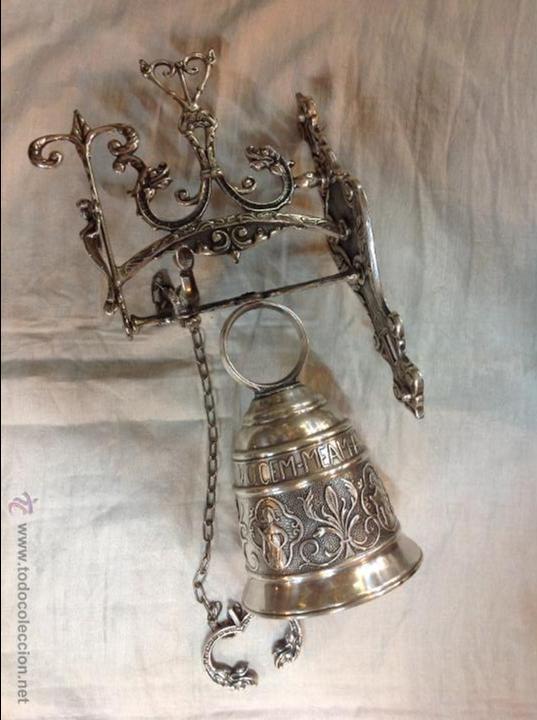 CAMPANA DE BROBCE PLATEADA (Antigüedades - Hogar y Decoración - Campanas Antiguas)