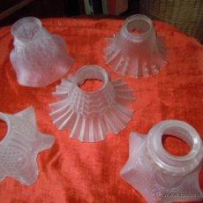 Antigüedades: LOTE DE 5 TULIPAS CRISTAL ESMERILADO PRINCIPIOS SIGLO XX. Lote 46613406