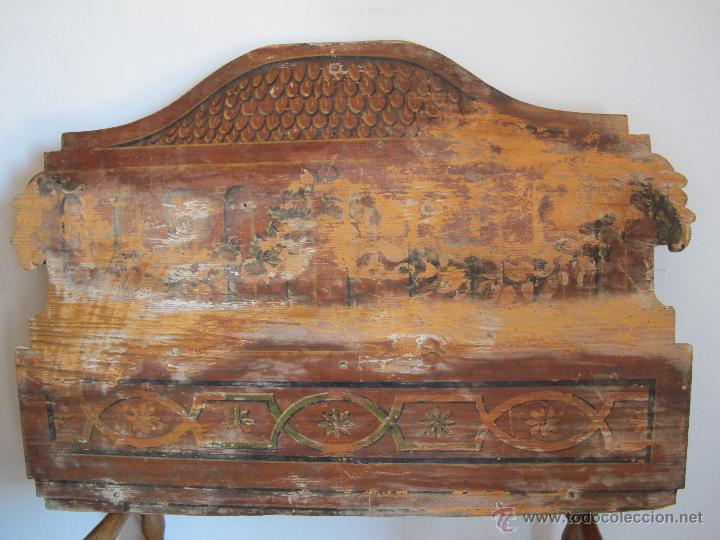 ORIGINAL CABECERA DE CUNA DEL S. XIX (Antigüedades - Muebles Antiguos - Camas Antiguas)