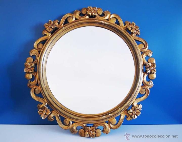 Gran espejo antiguo vintage con marco dorado m comprar Espejos vintage sin marco