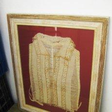 Antigüedades: MUY MUY ANTIGUA CAMISA CREO TRAJE REGIONAL O HUERTANA XVII-XVIII EN SEDA Y FILTIRE . Lote 46639673