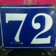 Antigüedades: ANTIGUO NUMERO 72 ( METAL ESMALTADO ) PARA PORTAL. NO REPRODUCCION. MEDIDAS 15 X 20 CM.. Lote 46642877