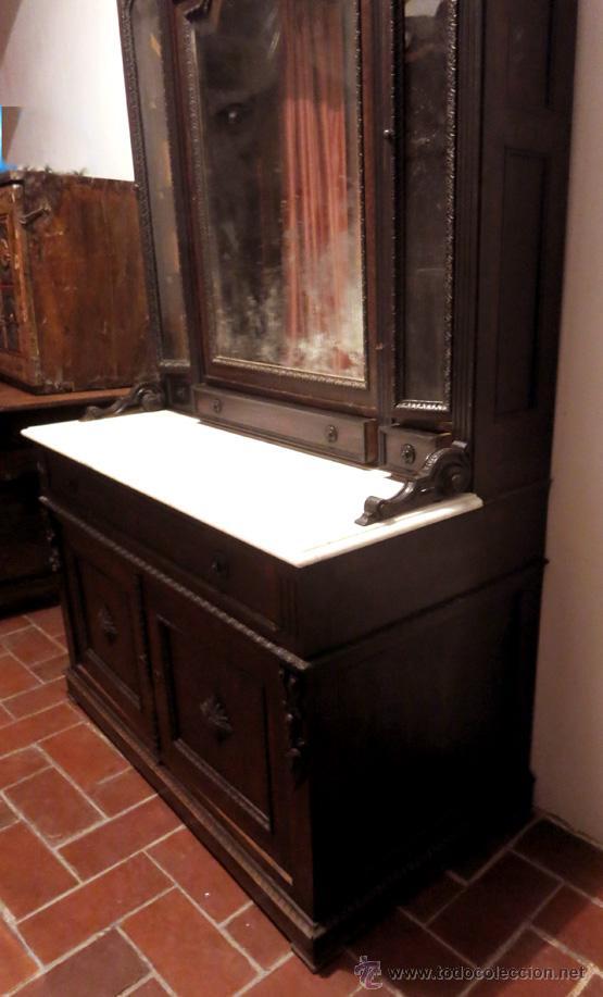 MUEBLE ISABELINO (HACIA 1850) EN MADERA DE PALOSANTO CON ENCIMERA DE MÁRMOL CON TALLA (Antigüedades - Muebles Antiguos - Aparadores Antiguos)
