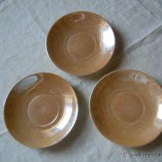 Antigüedades: 3 PLATITOS DE PORCELANA CON REFLEJO AÑOS 40. Lote 46669290