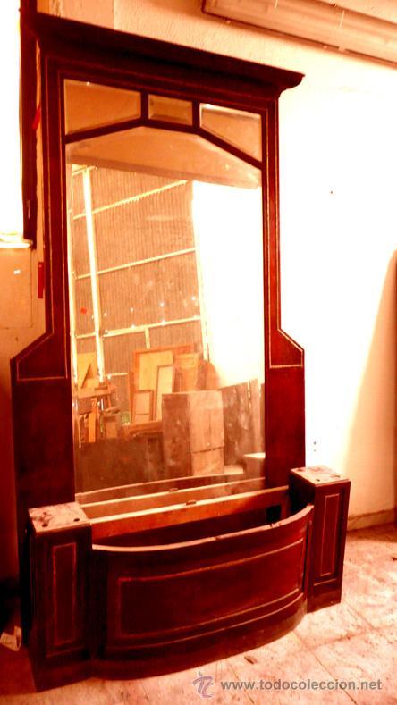 espejo entrada gran altura caoba con jardinera y columnas hacia antigedades
