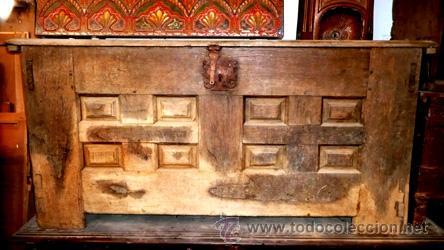 Antigüedades: ARCA ARCÓN DE ROBLE O ENCINA FRENTE 8 CUARTERONES Y TAPA DE 1 SOLA PIEZA S.XVII-XVIII - Foto 3 - 46671674