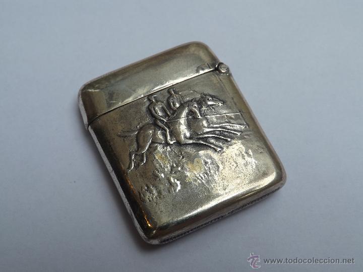Antigüedades: Cerillera antigua. Cerillera plata. Pieza plata antigua. - Foto 2 - 46676100