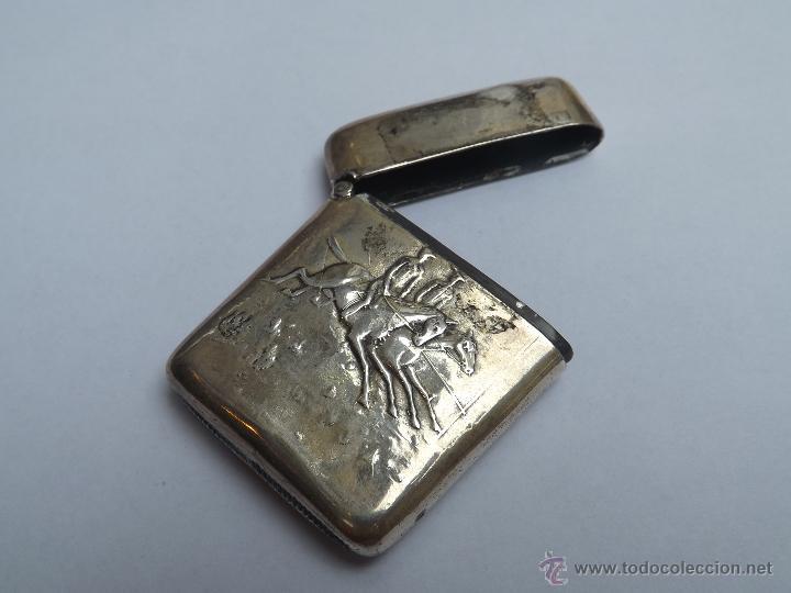 Antigüedades: Cerillera antigua. Cerillera plata. Pieza plata antigua. - Foto 4 - 46676100