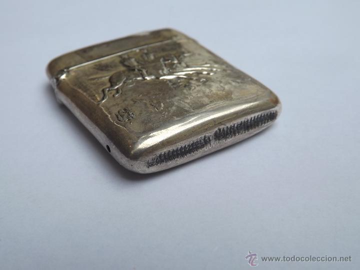 Antigüedades: Cerillera antigua. Cerillera plata. Pieza plata antigua. - Foto 5 - 46676100
