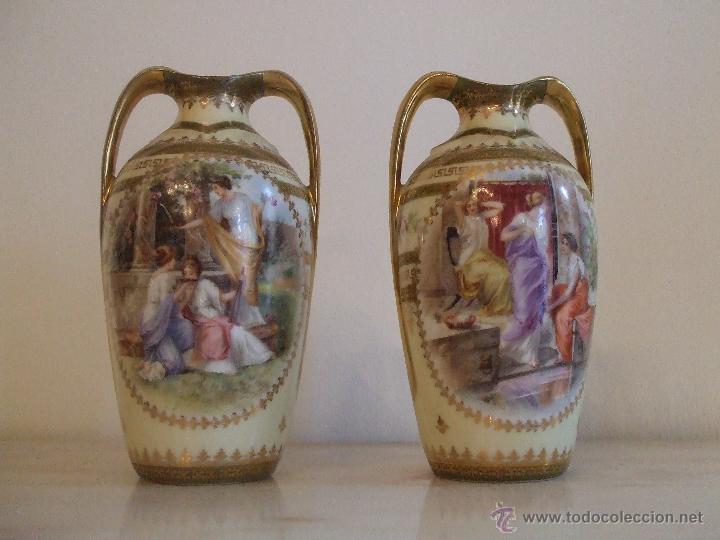 PAREJA DE JARRONES- PORCELANA DE VIENA (Antigüedades - Porcelanas y Cerámicas - Otras)