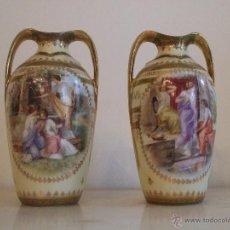 Antigüedades: PAREJA DE JARRONES- PORCELANA DE VIENA. Lote 46681440